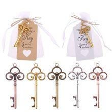 50 Sets Vintage Sleutel Flesopener Met Tag Card Bag Wedding Party Gunsten Souvenirs Bruidsmeisje Gift Wedding Details Voor Gasten