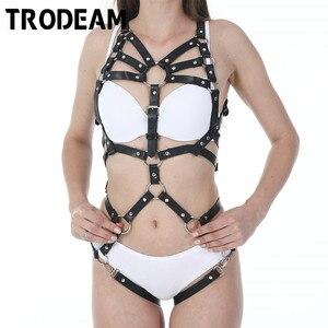 Image 1 - TRODEAM Sexy Leather Harness Underwear Set goth Garter Belts Women Straps Bra Garter Body Belts Waist To Leg Bondage Cage Fetish