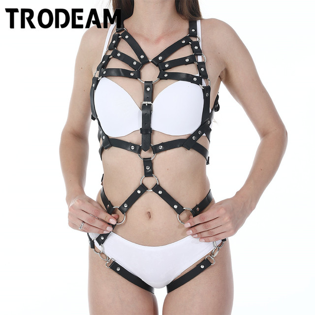TRODEAM Sexy Leather Harness Underwear Set goth Garter Belts Women Straps Bra Garter Body Belts Waist To Leg Bondage Cage Fetish