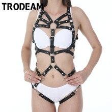 طقم ملابس داخلية مثير من TRODEAM مزود بحزام من الجلد وحزام رباط وحمالات للسيدات وحمالات على شكل صدرية وأحزمة على شكل الجسم وخصر إلى ساق