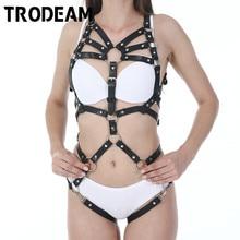 Trodeam Sexy Lederen Harnas Ondergoed Set Goth Kousenband Riemen Vrouwen Bandjes Bra Garter Body Riemen Taille Te Been Bondage Kooi fetish