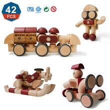 42PCS Brain Game Magnetic Blocks Preschool Magnet Set Toys Magnetic Wooded Blocks Educational Toys for Kids XMAS Gifts