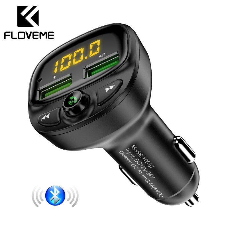 FLOVEME Bluetooth Carregador de Carro Para O Telefone USB Carregador Transmissor FM MP3 Leitor de Música Do Cartão Do TF HandFree Carro Carregador de Telefone