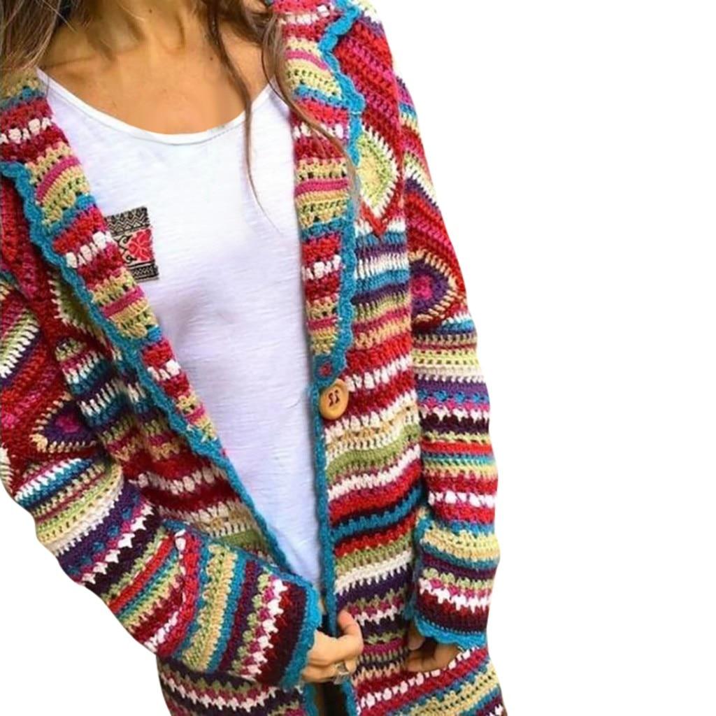 abrigos mujer invierno 2020 Winter winter coat women Multicolor Print Ethnic Wind Knit Cardard Long Sleeve Long Coat chaqueta