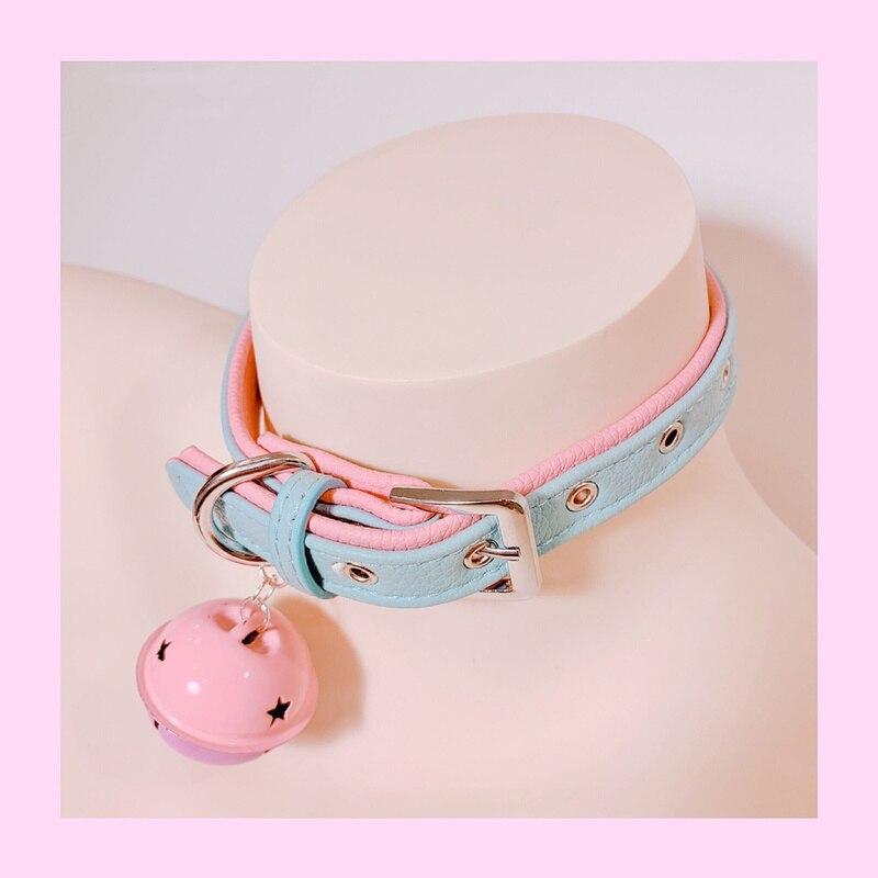Nouveau SM métal collier en cuir synthétique polyuréthane plomb chaîne cloche tour de cou esclave Costume, BDSM Bondage collier collier collier Sex Toys-30