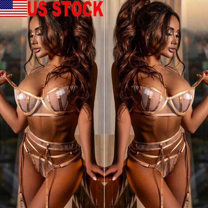 3PCS Women Sexy Lace Lingerie Bra+Babydoll Garter Belt G-string Set Lady Sissy Underwear Sleepwear