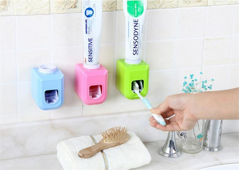1Pc New Hands Free Automatic Squeezer Toothpaste Dispenser Squeeze Out Wall Mount Bathroom Accessories 4 Colors