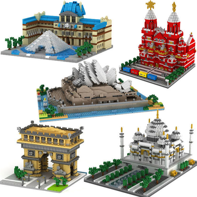 <font><b>1000PCS</b></font> Small particle building block famous building castle creative model adult educational leisure toy image