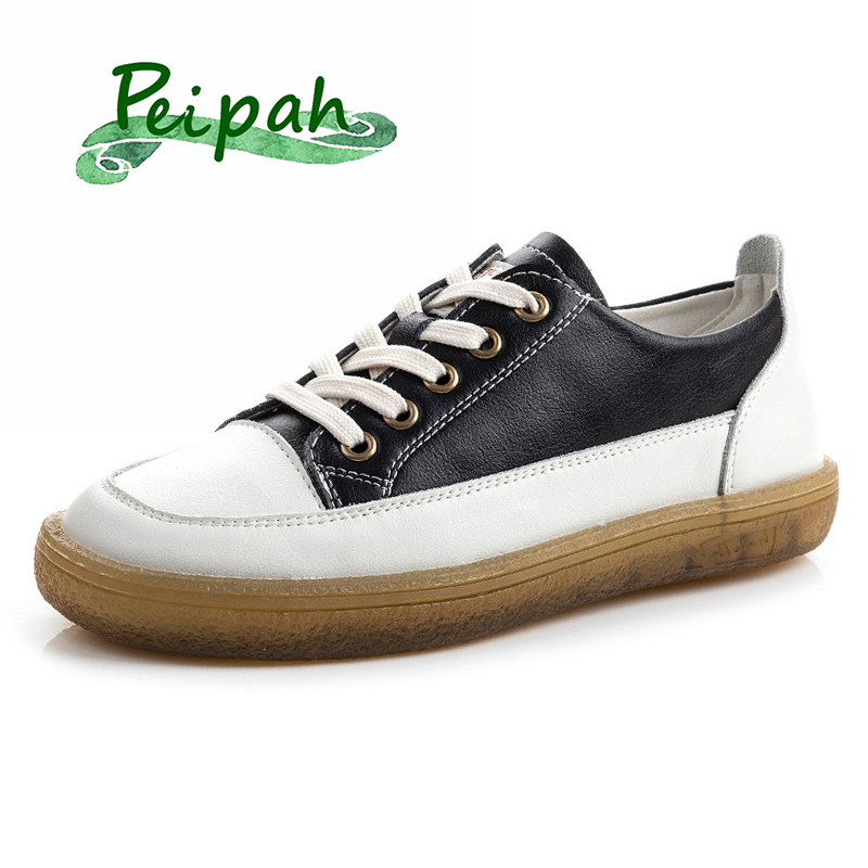 PEIPAH Women's Sneakers Genuine Leather Shoes Woman Lace- Up Flats Female Casual Solid Flats Ladies Cross-Tied Shoes Plus Size