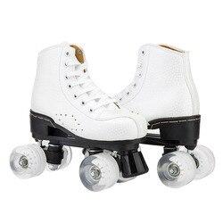 Mikrofaser Rollschuhe Doppel Linie 4 Räder PU Skating Schuhe Frauen Männer Erwachsene Schiebe Inline Skates Kinder Rollerblade Turnschuhe