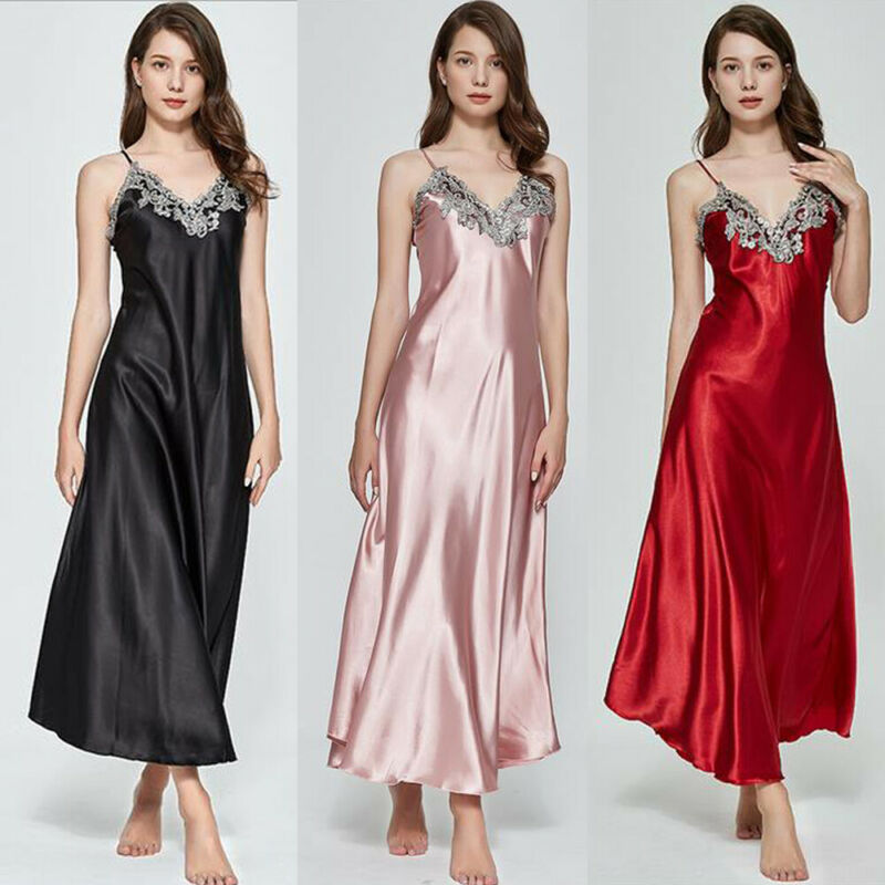 Ladies Womens Satin Long Nightgowns Silk Lace Sexy Lingerie Feamle Sleeveless Deep V Nightdress Night Dress Sleepwear US