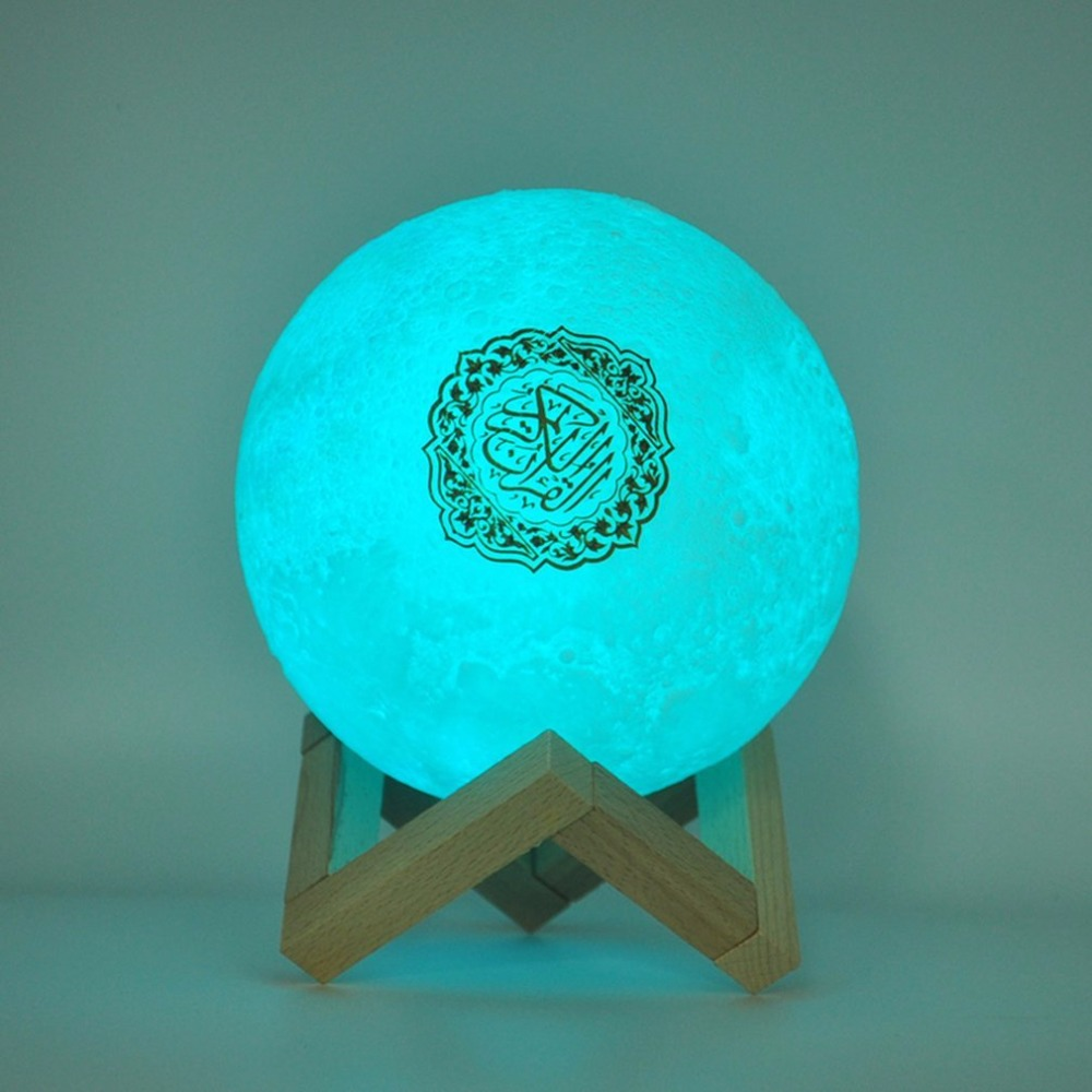 Alto falantes bluetooth sem fio muçulmano noite luz alcorão alto falantes 3d lua com controle remoto alcorão speakr luz koran toque lâmpada