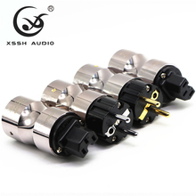 Hi end European Schuko plug Rhodium gold plated power plug DIY AC Power Electrical 15A Male female 20mm connector IEC US EU Plug