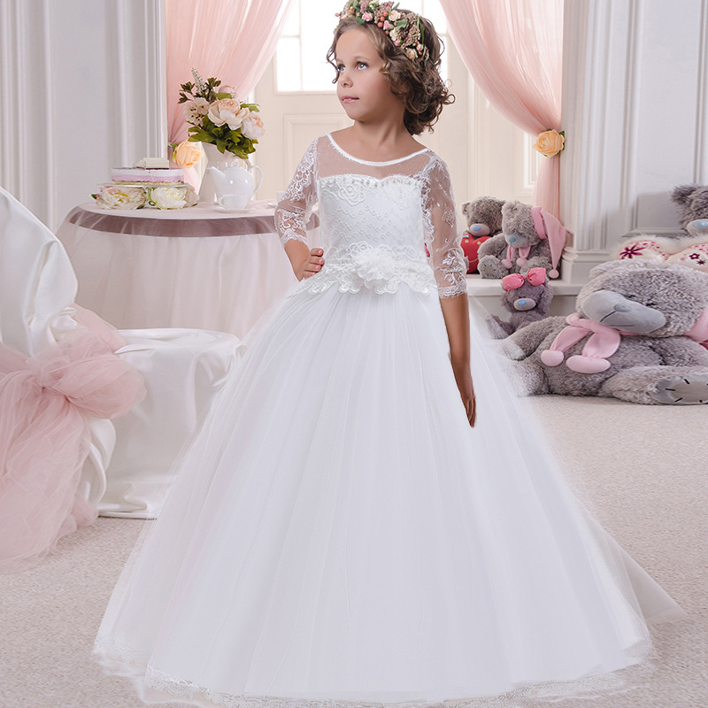 Children's party   dress   long   dress   child   girl   wedding   flower     girl     dress   princess   dress   lace back hollow tulle vestido