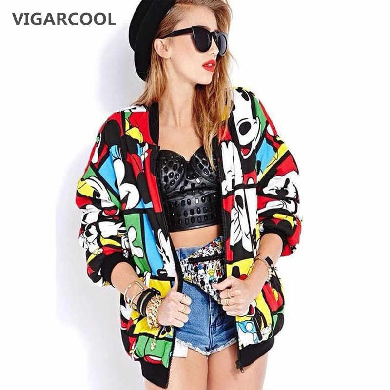 VIGARCOOL Best seller European station 2019 Woman Coat autumn new color matching Mickey long-sleeved coat cartoon jacket female
