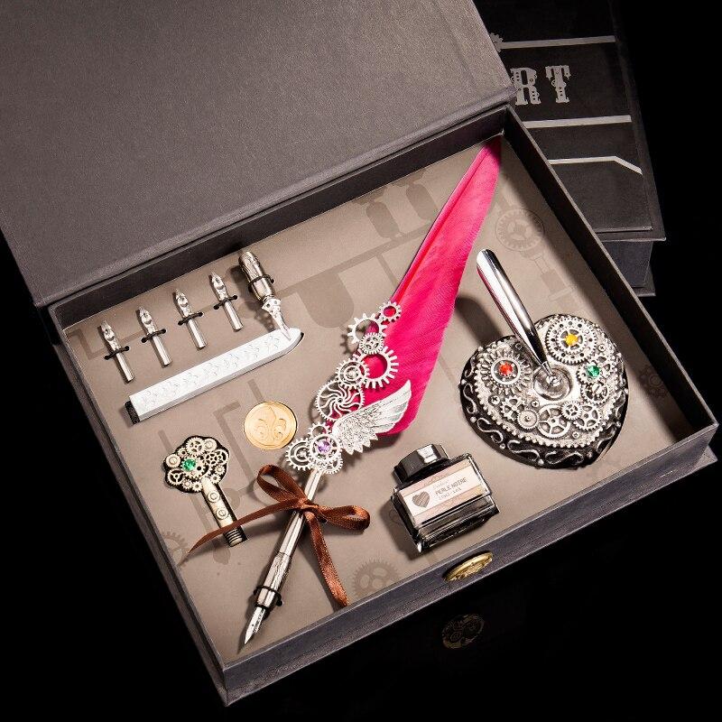 Stylo plume coffret cadeau stylo plume Vintage stylo plume ensemble d'encre stylo plume encre fournitures de bureau stylos à encre pour l'écriture
