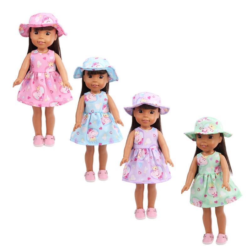 14.5 Inch Girls Doll Clothes American Newborn Sun Hat + Printed Dress Baby Toys Skirt X17