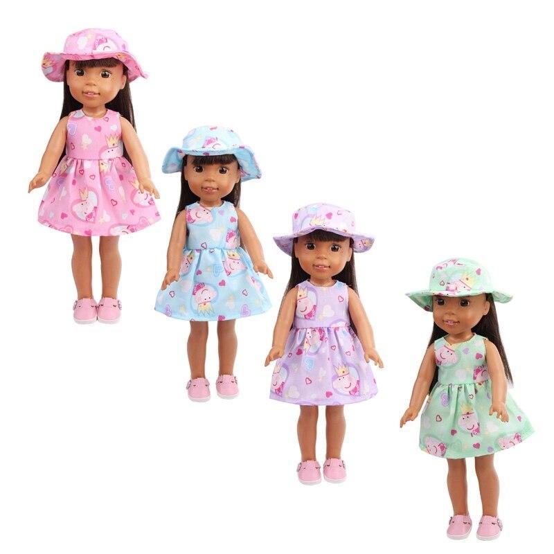 14.5 Inch Girls Doll Clothes American Newborn Sun Hat + Printed Dress Baby Toys Skirt X17