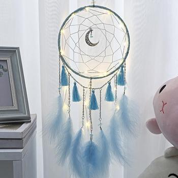 Kreatywny księżyc Tassel łapacz snów z LED Light Luminous Dreamcatcher wisiorek Hollow Handmade wiatr kuranty ścienne wystrój pokoju dla dzieci tanie i dobre opinie CN (pochodzenie) FAIRY Drewna Nowoczesne 315423 315426