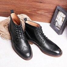 DESAI Bullock Carved Shoes British Style Mens Boots Business Dress Men Genuine Leather Short Brock Martin