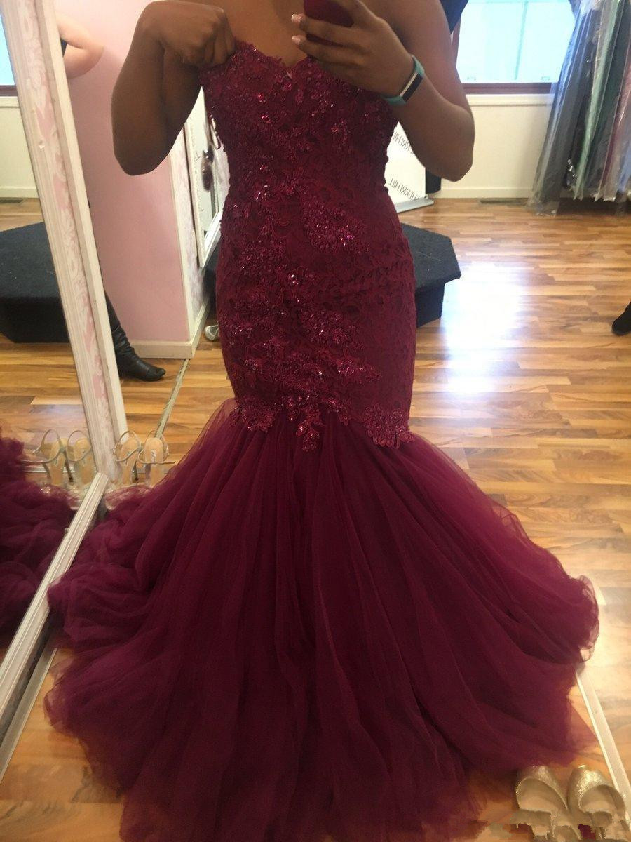 2019 Burgundy Mermaid Sweetheart African Prom Dresses Beads Lace Applique Backless Sweep Train Strapless Plus Evening Prom Dress