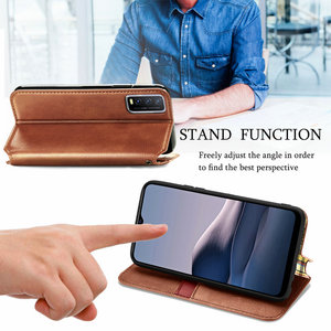Image 4 - Leather Texture Magnet Book Shell for Vivo Y20 2020 Luxury Case Vivo Y20S Y20i Y 20 S 20S Y11S Y12S Flip Cover Funda Shockproof