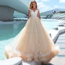 Tule Vestidos de Casamento 2019 Querida Mangas UMA Linha Lace Up Lace Up Até O Chão Vestidos de Noiva Vestidos de Noiva Tribunal trem