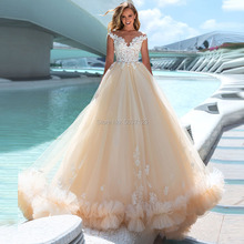 Tulle robes de mariée 2019 chérie sans manches une ligne à lacets à lacets longueur de plancher robes de mariée robes de mariée de Noiva Court Train