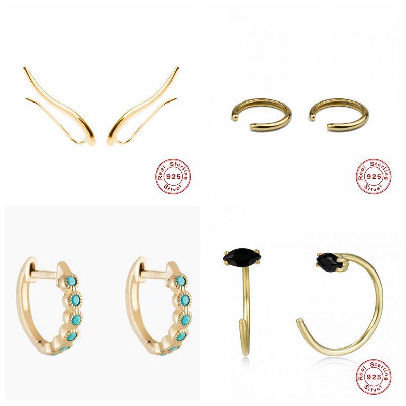 Punk 925 Sterling Silver Ear Cuff Cartilage Ear Clip For Women No Pierced C Shape Small Earcuff Ear Wrap Earcuff Clips Jewelry 3