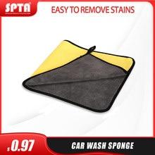 Spta toalha de carro microfibra lavagem toalha de secagem grosso pelúcia fibra de poliéster pano de limpeza coral velo toalha de lavagem do carro