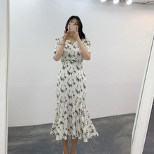 YAMDI print v neck high waist wool party korean 2020 vintage midi dress