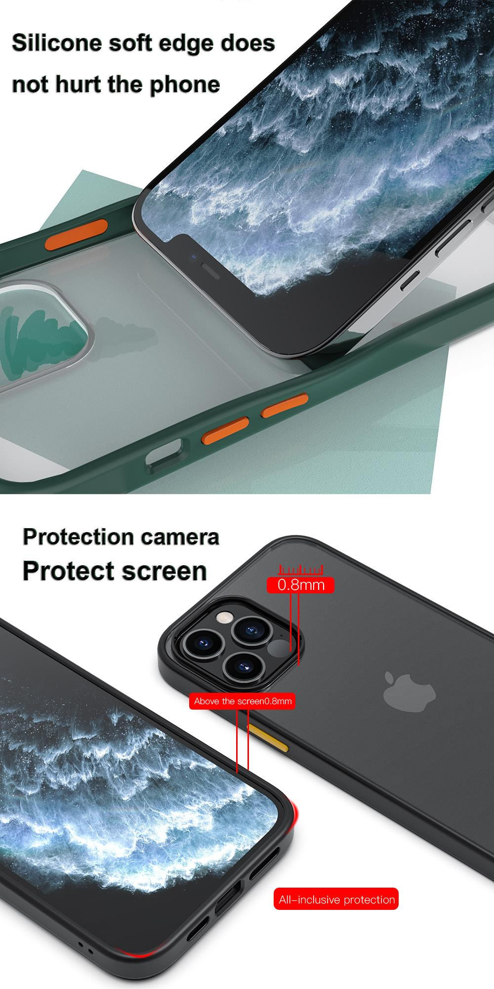 New Fashion Transparent Shockproof Matte Clear Case for iPhone 12 Pro Max 2