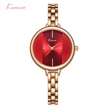 Kimio Brand Women Red Dress Watch Ladies Stainless Stee Brac