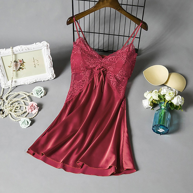 Women Sexy Lingerie Silk Nightgown Dress Lace Night Dress Sleepwear  Nightie Satin Homewear Chest Pad Nightwear