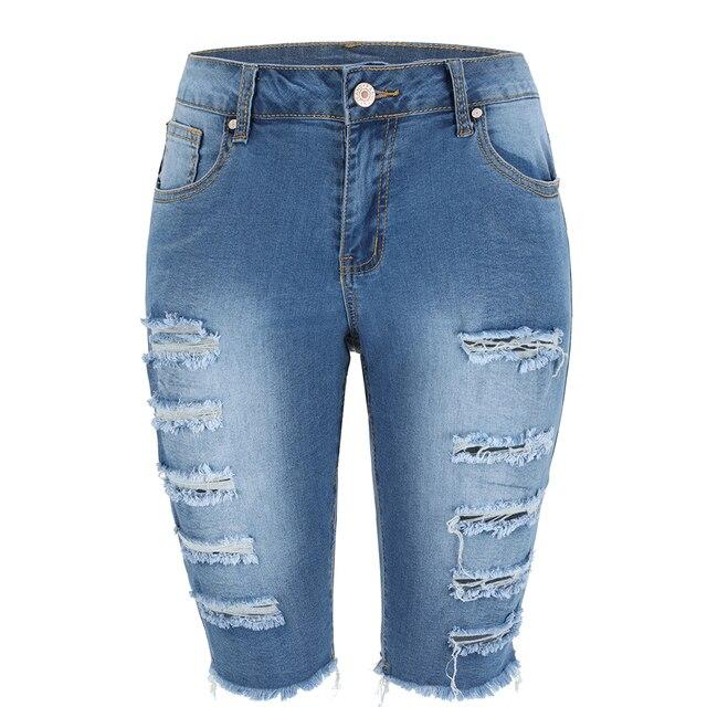 Delle Donne Aumento Medio Elastico Denim Shorts di Lunghezza Del Ginocchio Curvy Bermuda Breve Tratto Jeans 6