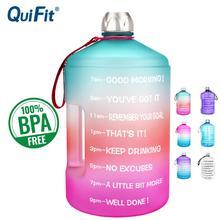 Quifit 3.78L 2.2L 1.3Lガロン水ボトル大容量ジムフィットネス観光bpaフリーのスポーツ水差しツアーボトル屋外やかん