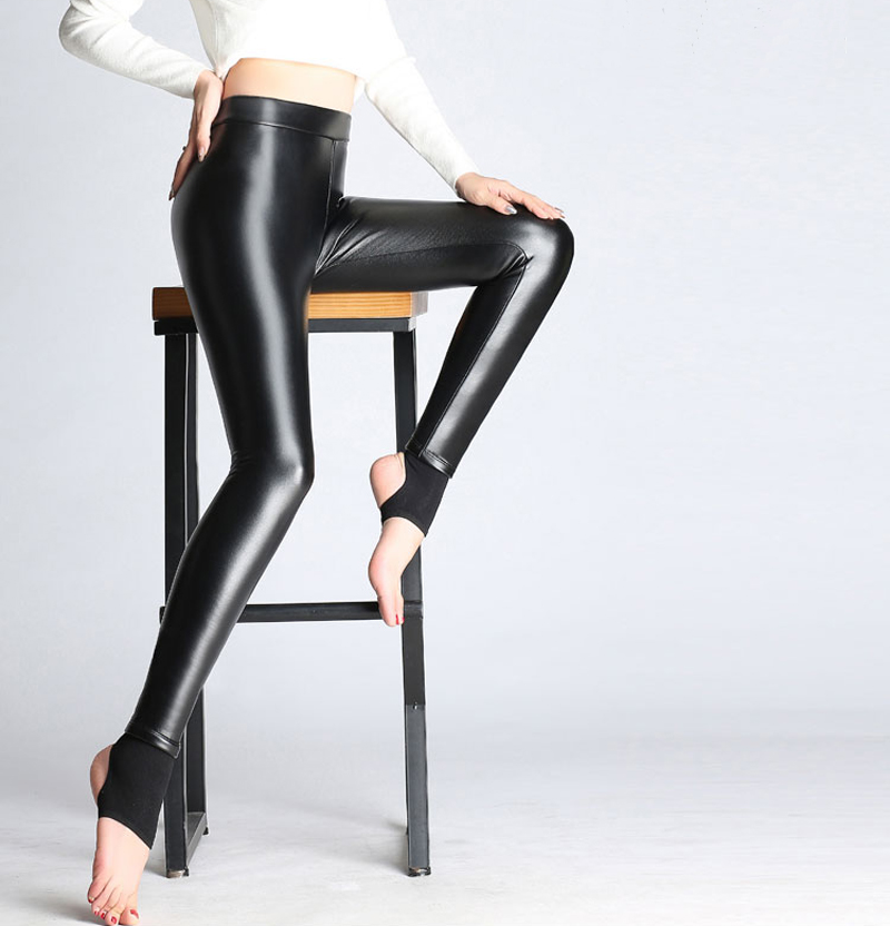 BGTEEVER Spring Autumn Winter Soft PU Leather Pant Women Velvet Pants Warm Stretch Skinny Trousers Pencil Leather Leggings 51