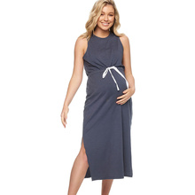 Womens Clothing Cotton Pregnants Casual Elastic waistband Fashion Dress Loose Comfortable Summer Sleeveless Pregnant