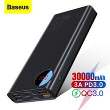 Baseus 빠른 충전 3.0 30000 mAh 전원 은행 유형 C PD 30000 mAh Powerbank iPhone Xiaomi Mi 용 휴대용 외장 배터리 충전기