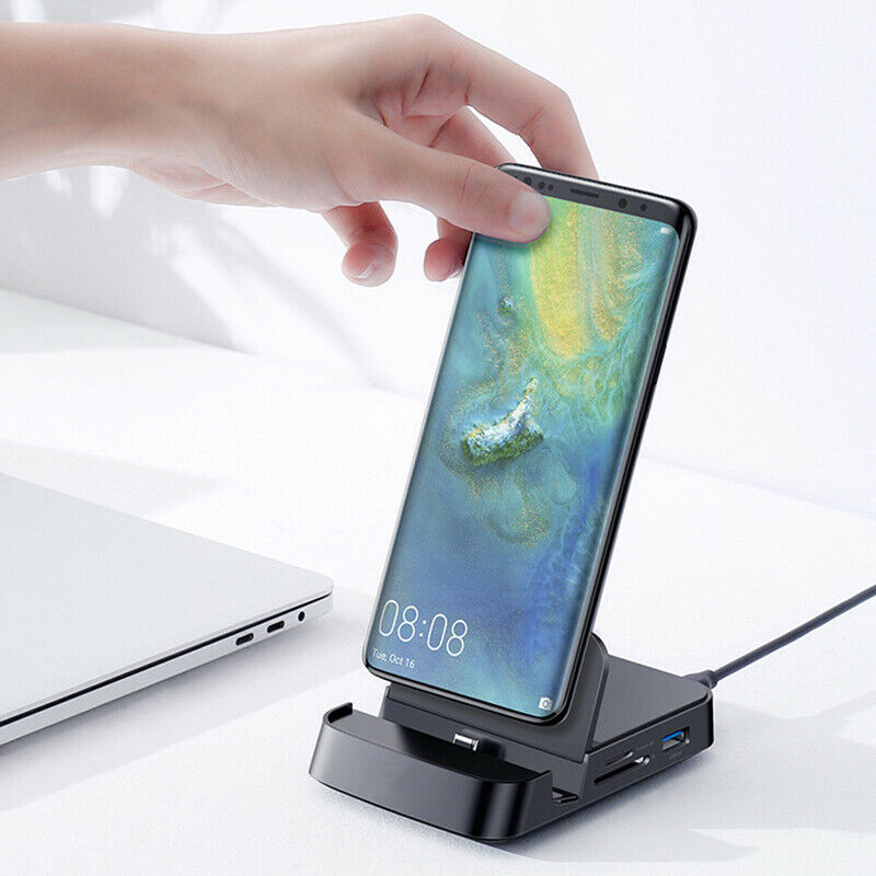 NEW Type C To HDMI Station Charging Dock SD TF Extension Hub For MacBook Samsung