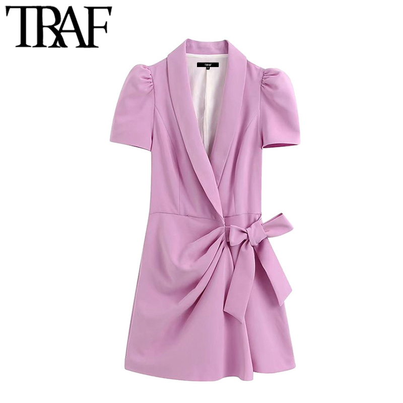 TRAF Women Chic Fashion Office Wear Blazer-Style Playsuit Vintage Crossover V Neck Puff Sleeve Bow Tied Female Jumpsuit