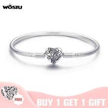 Wostu genuine 925 sterling silver tree of life charme pulseira & pulseira para as mulheres ajuste marca original diy contas jóias cqb066