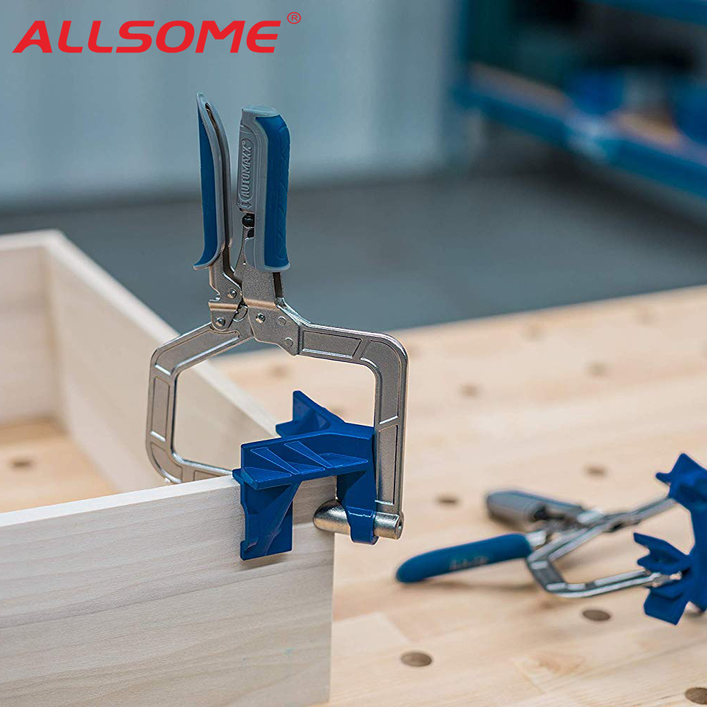 ALLSOME Auto-adjustable 90 Degree Corner Clamp Face Frame Clamp Woodworking Clamp HT2792
