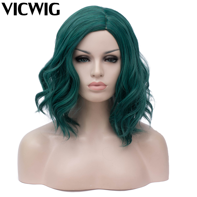 VICWIG Female Wig Short Curly Hair Dark Green Cosplay Synthetic Wig Blue With Black