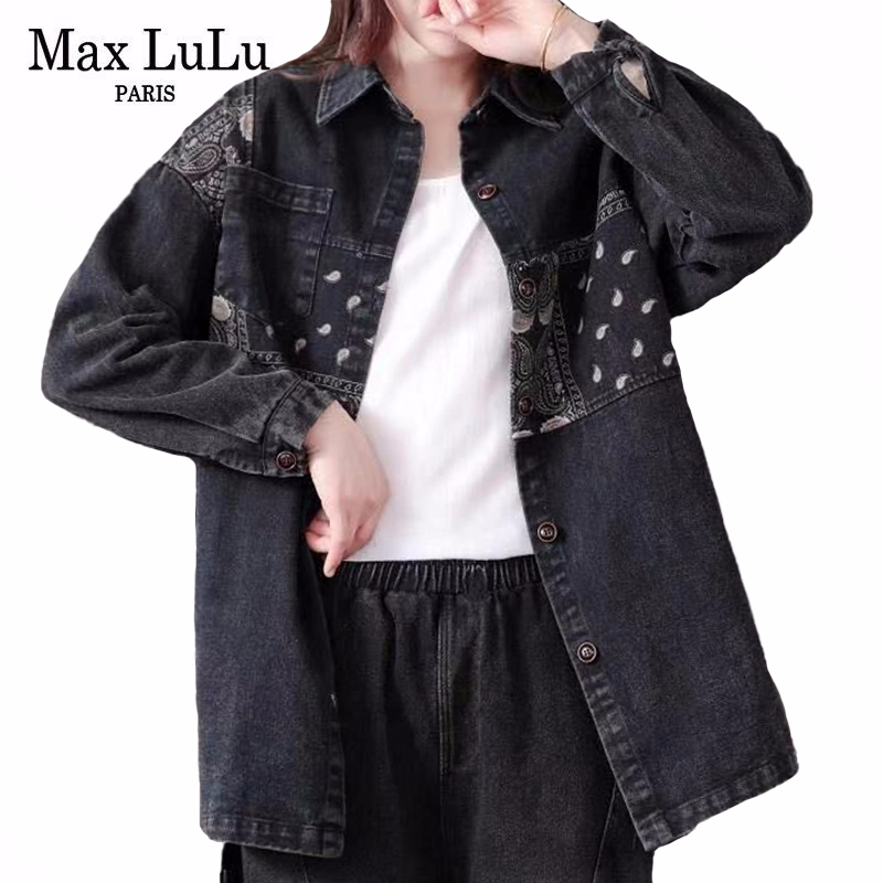Max LuLu 2020 Spring Korean Fashion Ladie Embroidery Denim Coats Womens Loose Casual Jackets Patchwork Gothic Clothes Plus Size