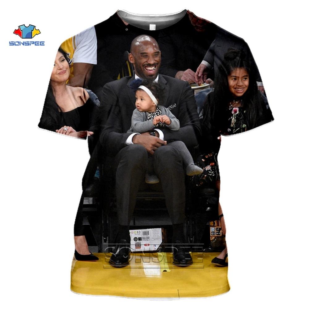 SONSPEE Kobe Bryant T-Shirts Summer Top 3D Print Camiseta Homme Short-sleeved O-neck T Shirt Women Men Black White Gym Tee Shirt