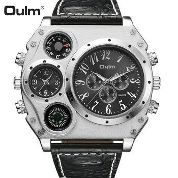 OULM Big Dial Sport Casual Quartz Watch Men Leather Strap Double Time Zone Black Dial Boyfriend Oversize DZ Wrist Watches Clock
