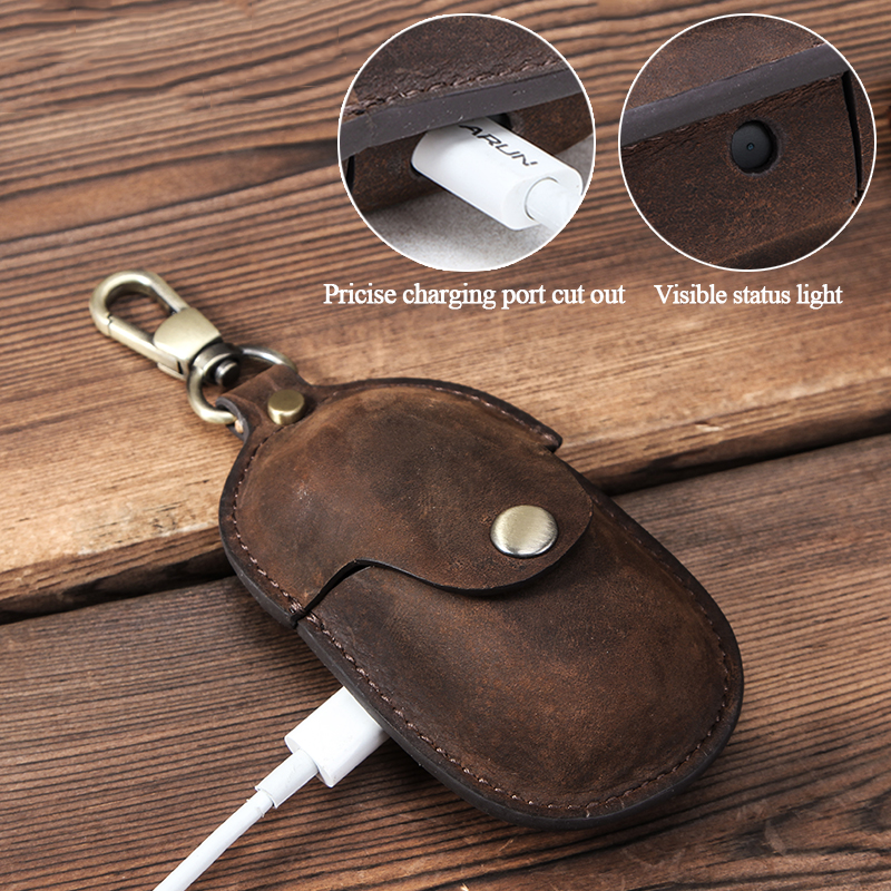 Image 2 - For Galaxy Earbuds+ 2020 Genuine Leather Case for Samsung Galaxy Buds Case Keychain Protecive Cover Charging Soft Ecouteur CoqueEarphone Accessories   -