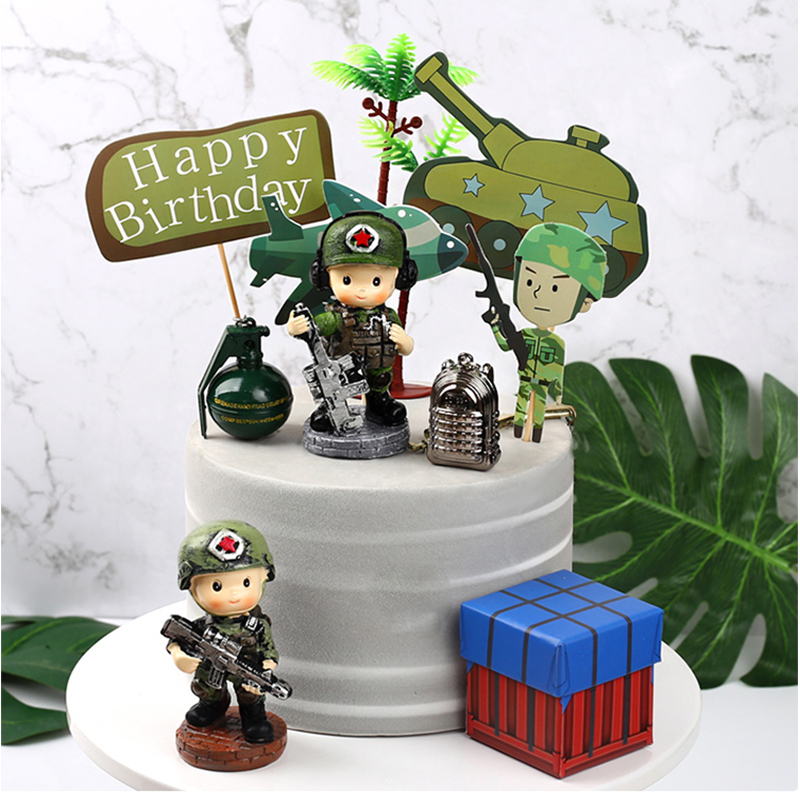 1 Set Tank Airplane Military Army Party Theme Cake Topper Boy Party Favors Children's Birthday Cake Supplies Party Decorations image