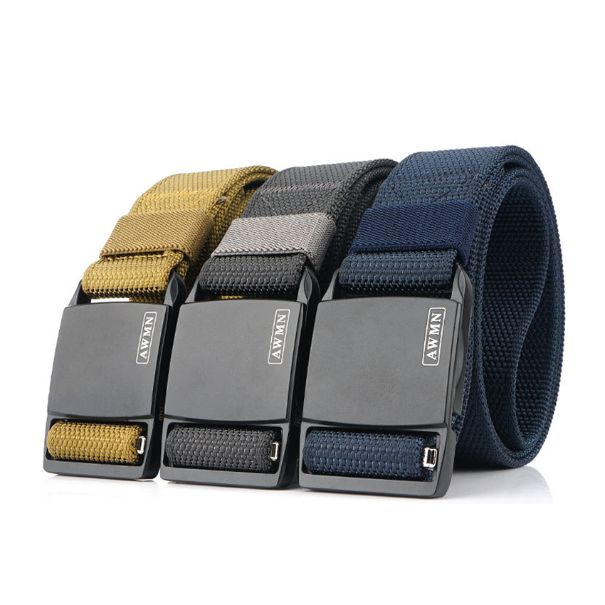 New Belt For Men Zinc Alloy Magnetic Buckle Casual Trousers Belts Outdoor Training Adjustable Canvas Tactical Belt Fast Shipping